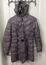 NEW Guess Women's Coat LONG Puffer PARKA w Belt and Full zip Hood - size Large
