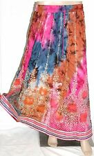 Indian Long sequin TieDye Lace Skirt Boho Bollywood Dance Hippie Gypsy