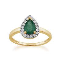 Gemondo 9ct Yellow Gold 0.66ct Pear Shaped Emerald & Diamond Cluster Ring