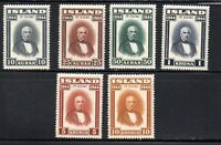 Iceland Sc 240-45 1944 Republic Sigurdsson stamp set mint NH Free Shipping