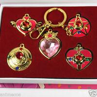 Sailor Moon Tsukino Usagi Pretty Guardian Necklace Pendant  Keychain 5pcs/Set