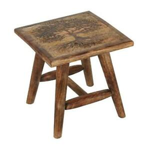 Tree Of Life Carved Stool