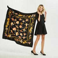 "Luxury Women's Fashion Dancer Girls Print Black Scarf Large Shawl Hijab 51""x51"""