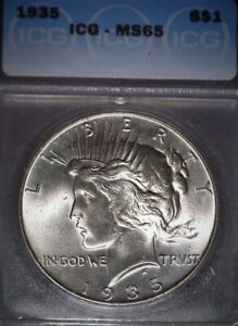 1935 Peace Silver Dollar, ICG MS65 , Hard To Find Gem Grade, Issue Free