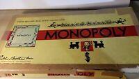 1954 Parker Bros. MONOPOLY Game BOARD Box Wood Pieces Money Cards Dice vintage