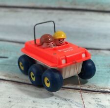 """VINTAGE 1973 Fisher Price """"Bouncing Buggy"""" RED pull behind toy #122"""