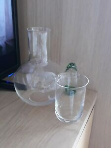 VINTAGE BEDSIDE GLASS WATER CARAFE AND GLASS TUMBLER BY DEMA  Made in England