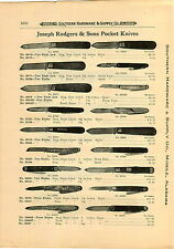 1910 PAPER AD 2 PG Joseph Rodgers & Sons  Pocket Knife Knives  Press Button