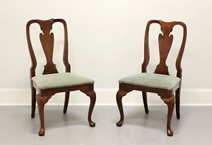 HICKORY CHAIR Queen Anne Cherry Dining Side Chairs - Pair