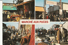 Carte postale 10cmX15cm PARIS marché aux puces multivues timbrée 1988