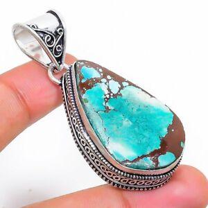 "Tibetan Turquoise Gemstone Handmade 925 Silver Jewelry Pendant 2.09"" C557"