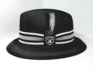Mens Black Raiders center crease Lowrider  hat fedora Derby