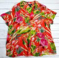 Avenue Womens Plus Button Front Shirt Size 22/24 Sheer Floral Blouse 100% Rayon
