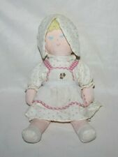 "Vintage Eden Plush Doll 15"" Toy Pink Baby Bonnet Strawberries Closed Eyes Rare"