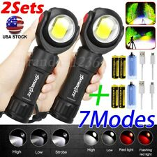 2Sets Rechargeable +COB LED Flashlight 360° Rotating Work light Torch w/Magnet