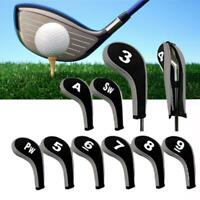 10pcs/Set Print Golf Hybrid Club Iron Head Covers With Zipper Long Neck