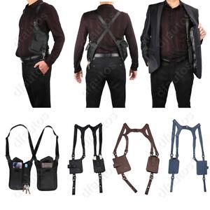 Black leather shoulder holster bag vest backpack body wallet for formal clothing