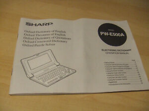 OPERATION MANUAL ONLY Sharp PW-E500A Electronic Oxford Dictionary Puzzle Solver