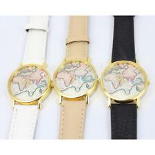 Vintage da Quarzo Orologi Polso MAPPA MONDO Pelle Cuoio Uomo Donna Wrist Watch e