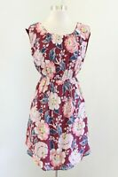 Ann Taylor Loft Womens Burgundy Pink Multi Color Floral Dress Size PS SP Casual