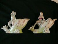 Vintage Hand Painted Pair Bone China Girl & Boy Planters, Carriages, Gold,Signed