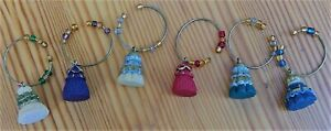 """Wine Glass Charms Markers Set of 6 Tassel shape resin multicolor beads 3/4"""""""
