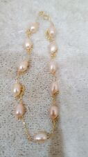 """14k Yellow Gold Necklace with Pink Long Pearls 18"""""""