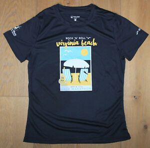 BROOKS Womens Medium Navy Blue Running Jogging Shirt Virginia Beach Marathon New