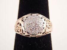 ART DECO Mixed Cut Diamond Ring .29 tcw E/VS 14k Cluster Handmade Filigree
