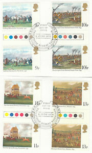 (85734) GB Used TRAFFIC LIGHT GUTTER PAIRS Horseracing 1979 ON PIECE