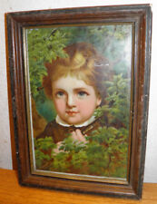 "Antique Print Early 1900s Chromiolitho Boy Original Frame 8.75x12""Collector Must"