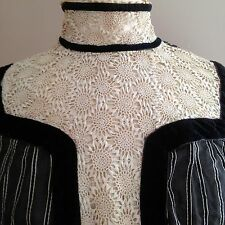 Vintage Antique Victorian Dress Black/White Stripes