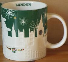 Starbucks Wintertasse London Relief Grün, 16 oz mit SKU, HTF Sonderedition 2015