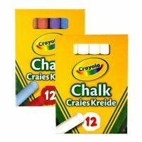 Crayola Chalks - 12 White or 12 Coloured - Antidust - Blackboard Drawing Writing