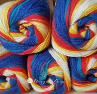 Madame Tricote SWEET BABY Wool Yarn 5x100g  Knitting Ombre blue white yellow red