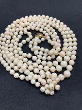 "Vtg 60s 3 Strand Angel Skin Coral Bead Necklace Lg 14k Cluster Clasp 114 Gr 24""A"