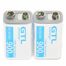 2 pcs Durable 9V 9 Volt 900mAh Power Ni-Mh Rechargeable Battery Cell PPS block