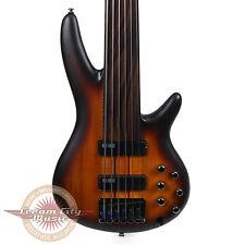 Brand New Ibanez SRF706 Ibanez Workshop 6 String Fretless Bass Brown Burst Flat