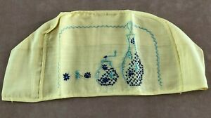 Vintage toaster cover yellow blue needlework piece embroidered linen midcentury