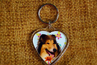 Rough Collie Dog Gift Keyring Dog Key Ring heart shaped Xmas Mothers Day Gift