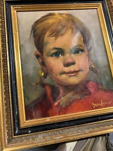 """Jeanne Brandsma, Oil Portrait Of A Child, 12"""" X 10"""" Signed LL"""