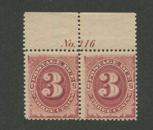 1891 Due Stamp #J24 Mint Never Hinged Pair Top Margin Plate No. 316