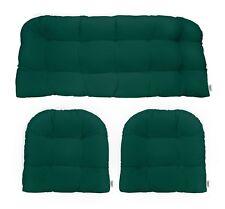 Outdoor Wicker Loveseat Settee & 2 Chair Cushions Sunbrella Forest Green