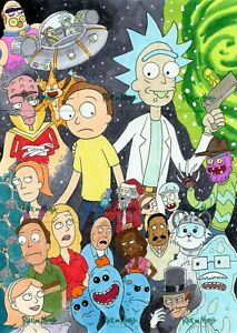 Rick & Morty Season 1 Sketch Card ERIC WHITE AP 9-CARD PUZZLE - SEASON ONE CAST