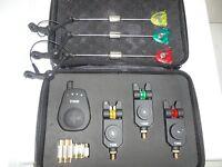 3 x TMC Mag roller bite alarms + receiver + 3 Illum Hangers, Carp, LED, Case