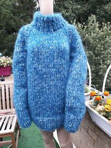 New Hand Knitted Thick and Heavy Mohair/wool Crew Neck Sweater  XL