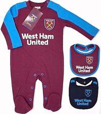 WEST HAM UNITED FC BABIES PRAM SLEEP SUIT BABY GROW PLAY BODYSUIT ROMPER WHUFC