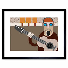 Painting Illustration Abstract Music Guitar Player Framed Print 12x16 Inch