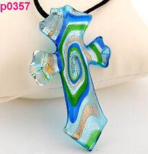 Fashion Lady's Chic Handmade cross lampwork art glass glaze pendant necklace J8P