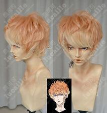New Men Cosplay Diabolik Lovers Sakamaki Shu Short Light Orange Curly Full Wigs